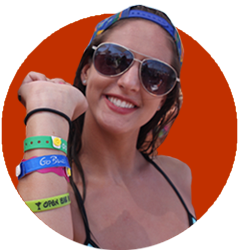 Playa del Carmen girl with all inclusive bracelets