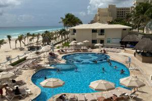 aerial view hotel poolside
