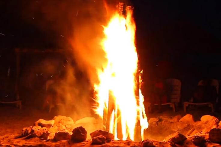 nightime bonfire